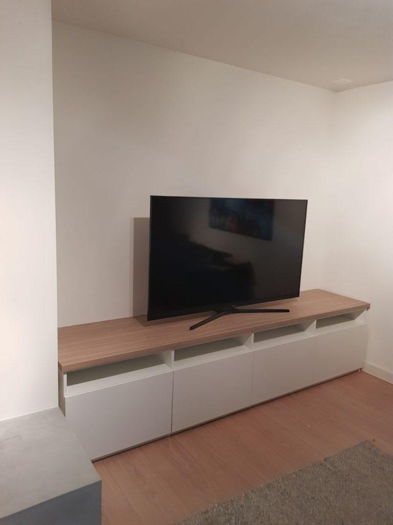 TV meubel wit met berken bovenplaat