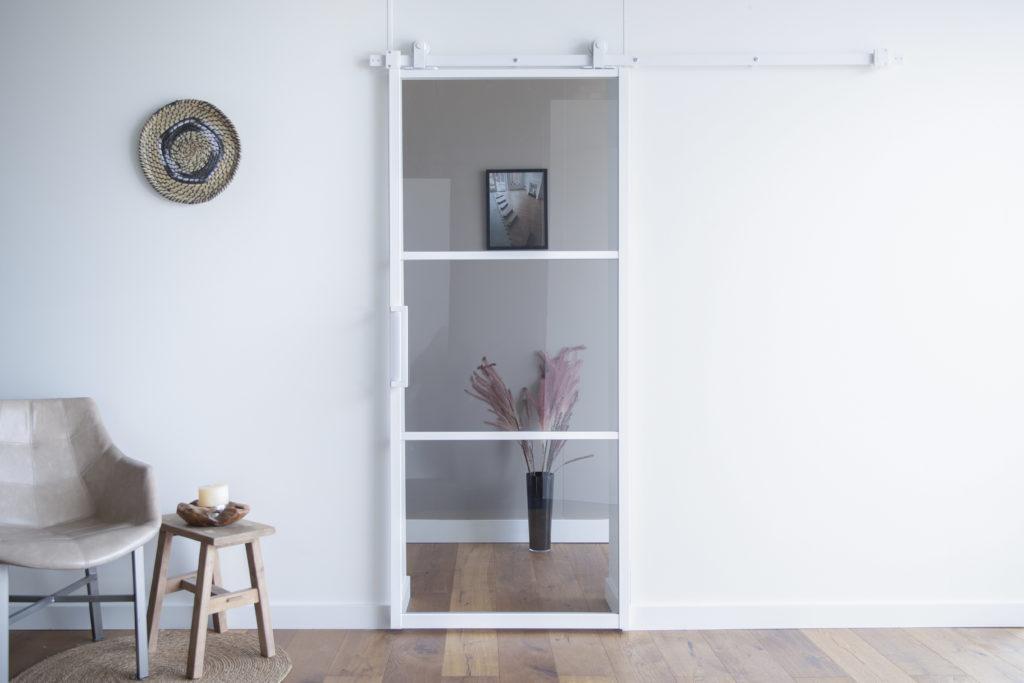 ML3 wit rookglas dicht schuifbeslag en deurgreep wit