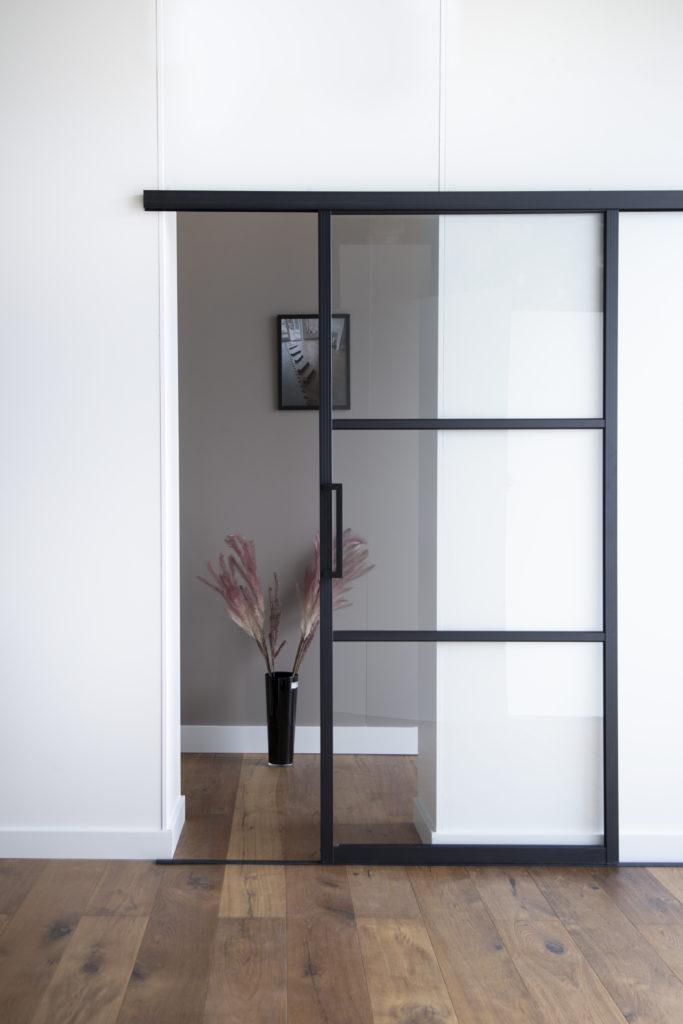 ML3 Helder glas boven onder rails voor een deuropening